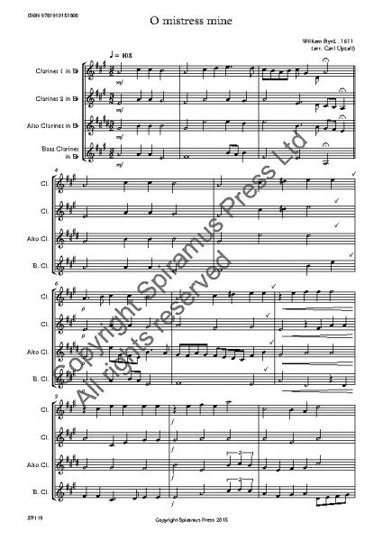 O Mistress Mine (William Byrd)(arr. for clarinet quartet with Eb alto clarinet)