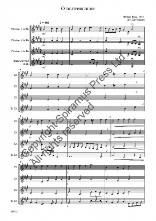 O Mistress Mine (William Byrd)(arr. for Clarinet Quartet)