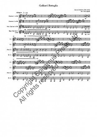Galliard Battaglia (arr. for clarinet quartet with Eb alto clarinet)