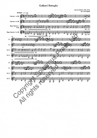 Galliard Battaglia (arr. for clarinet quartet)